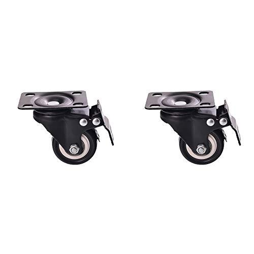 Casters Rotelle per silenziatori per Uso Domestico rotelle per sedie da Ufficio con gravità a 360 ° Rotante Ruota Freno Universale, Adatta per tavolino Culla, ECC. (2 Confezioni)