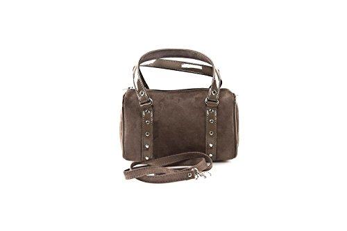 Bauletto sac femme ANNALUNA taupe MADE IN ITALY camoscio borsetta da sera N326