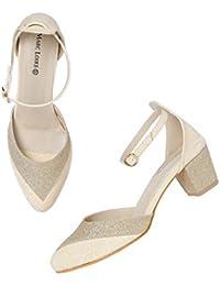 786c6ebff1 MarcLoire Women's Block Heel Golden Heels, Synthetic, Closed Back, High-Top