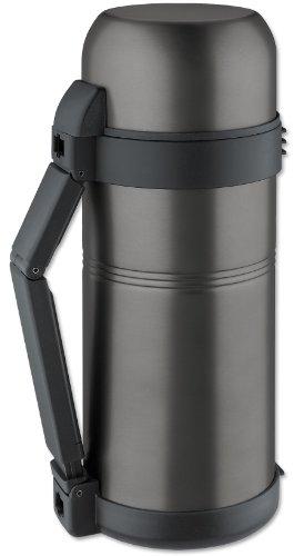 Isosteel VA-9560WQAT Isolierflasche 1,5 L, extragroße Einfüllöffnung, 18/8 Edelstahl mit Quickstop-Einhandausgießsystem und Klappgriff, titan-grau