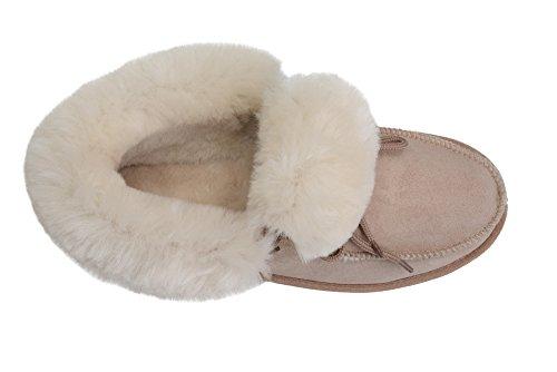 Manner/Frauen Luxus Leder Mokassin Pantoffel- Voll Wolle Futter Und Manschette Beige / Weiß
