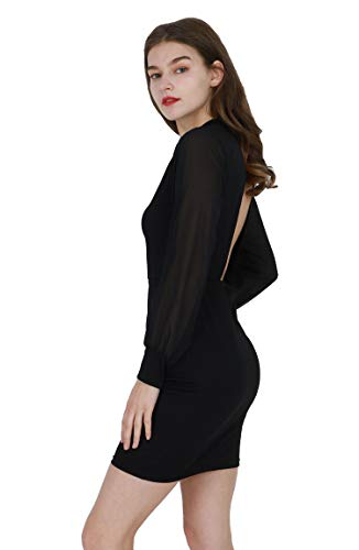 4912d6d927b4 Zum Shop · YMING Damen Rückenfreies Chiffon Kleid Rollkragen Langarm  Partykleid Minikleid