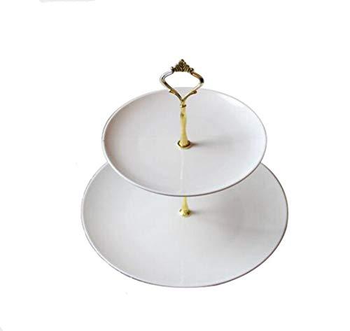 CHENGXINGF Tortenständer rund quadratisch Keramik zweischichtiger Tortenständer Nachmittagstee Hochzeitssnack Obstteller klassisch weiß schwarz Obstständer Goldener Ständer (Color : White8)