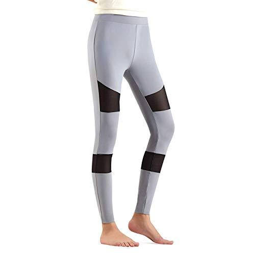 LeKuni Sport Leggings für Damen Sporthose Leggings Hose für Frauen Mädchen I Für Sport Fitness Training Jogging Yoga I elastisch&dehnbar I mit Netzeinsätzen-Gray_XXL -