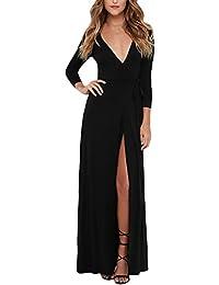 Frauen Kleider Maxikleider Lang Elegant V-Ausschnitt 3 4 Ärmel Stretch  Taille Normallacks Prom Dress Eng… be449ac108