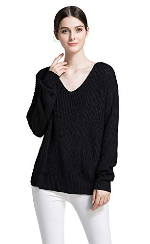 Damen Long Sleeves Soft V Neck Loose Knit Classic Top Pullover Sweater Herbst Winter Mode Unifarben T-Shirt Oberteile Kleidung (Color : Schwarz, Size : S) -