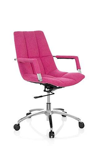Sedia da ufficio girevole saranto tessuto in stile retrò con guscio seduta sedia da ufficio, braccioli, meccanismo basculante per lordosi, ergonomico, poltrona direzionale hjh office pink