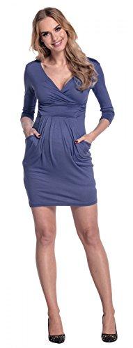 Happy Mama. Donna. Abito elasticizzato prémaman elegante vestito con tasca. 236p Blu Grigio