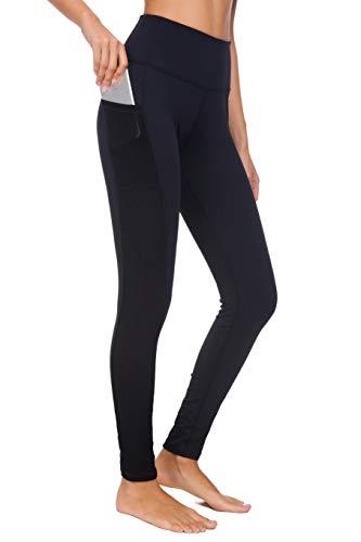 Munvot Damen Sporthose Sport leggings Tights, V1989 - Schwarz (Tech Mesh), S (DE36-38)