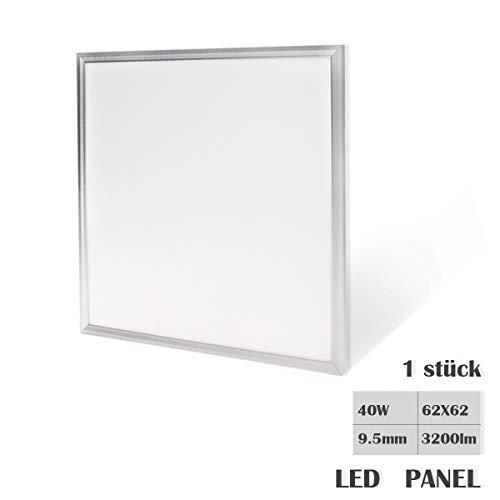 HOMEDEMO Deckenlampe LED Panel 62x62cm LED Deckenleuchte Ultraslim Modern 40W Kaltweiß 6000K für Schlafzimmer Wohnzimmer Wandleuchte innen mit Befestigungsmaterial und Trafo Silberrahmen