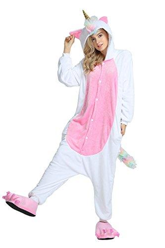 Kordelzug Einhorn Pyjamas Hoodies Anzüge Anime Weihnachten Halloween Cosplay Kostüme (Buntes Schwanz-Einhorn, L) ()
