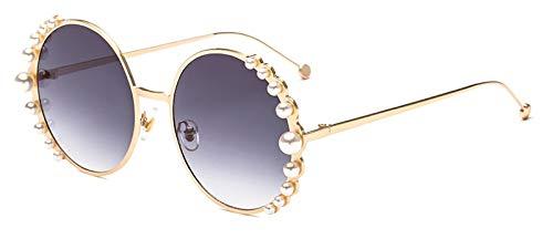 CQYYDD Luxury Womens Pearl Sonnenbrille Uv400 Runde Metallrahmen Mode Kreis Sonnenbrille Für Frauen VerlaufsglasGold mit schwarz