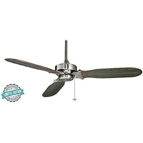 CASA BRUNO ventilador de techo Windpointe 'Ibiza Style' - edición limitada, Ø 152 cms, estaño cromado, con aspas de madera