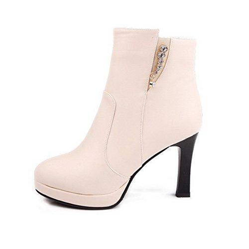AgooLar Damen Reißverschluss Hoher Absatz Stiefel Cremefarben