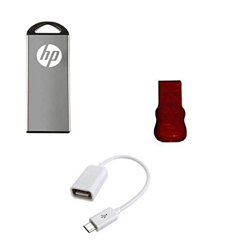 HP V220W 32 GB Metal Pendrive with OTG Cable and Card Reader