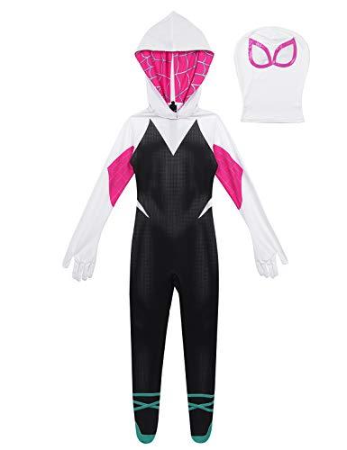 en Superheld Kostüm Anzug 3D Gedruckt Spinnenstrumpfhose mit Kapuze Kopfmaske Overall Jumpsuit Bodys mit Halloween Cosplay Party Kostüm Set Schwarz&Weiss 128-140/8-10Jahre ()