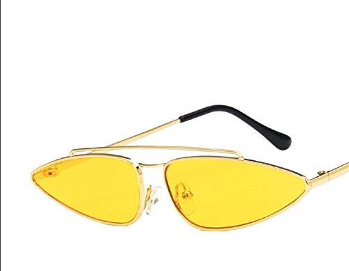 SWJJ Cat Eye Sonnenbrillen neue Metall kleinen Rahmen Sonnenbrillen Mode Drop-förmigen Cat Eye Sonnenbrillen Gezeiten Männer und Frauen, Goldrahmen gelb Film