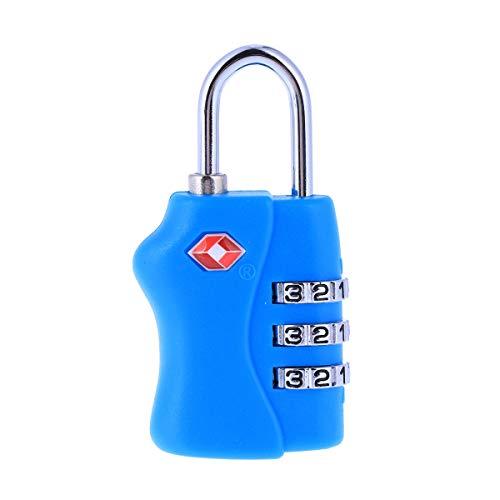 Vosarea TSA Tragbares Gepäckschloss Sicherheitsschloss 3 Ziffern Kombination Schloss, Schloss blau