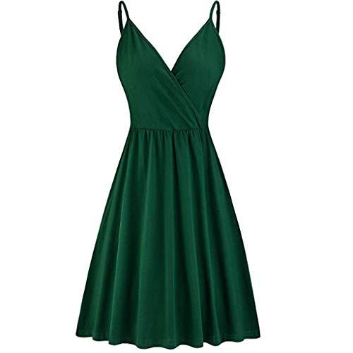 mounter- Damen Sommerkleid, Blumenmuster, V-Ausschnitt, Spaghettiträger, Mini-Skaterkleid mit Taschen, ärmellos, Sonnenkleid, Plissee Gr. Medium, grün -