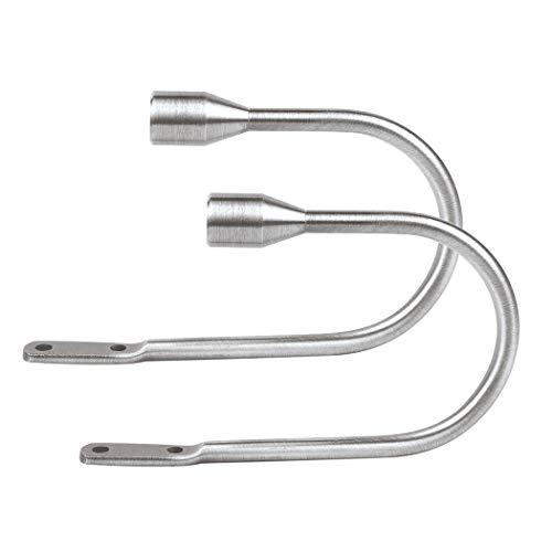 FUNRUI Vorhang Raffhalter Haken Holdbacks Tiebacks Hook Metall Gardinenhalter Raffhalter U Haken für Fenster Zugband Haken Pack von 2 (Silber)