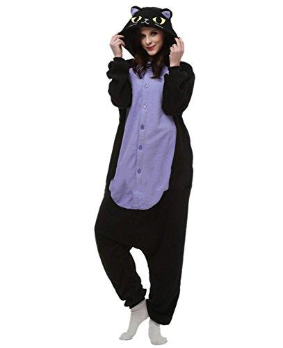 Onesies mit Kapuze Erwachsene Unisex Cospaly Schlafanzug Halloween Kostüm Mitternachtskatze Geeignet für Hohe 160-175CM (Genie Halloween-kostüm Für Erwachsene)