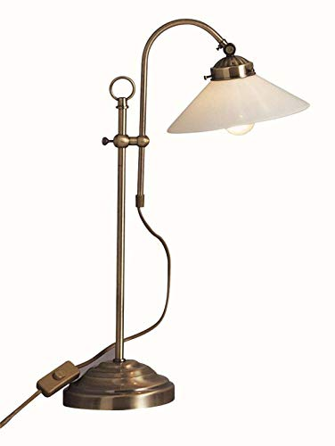 Schreibtischlampe Retro Messing Antik Tischlampe Landhausstil (Höhe 36 cm, Nachtischlampe, Lampenschirm Glas, Vintage, Altmessing)