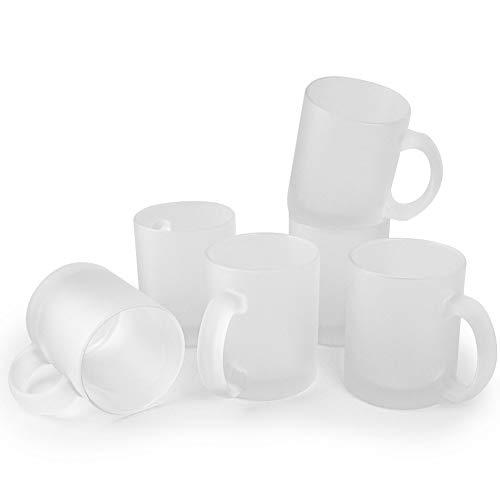 Werbewas 6er Set satinierte Kaffee-Tassen ohne Druck transparent weiß im Frosted Look, Elegante Milch-Glas Becher für Büro und Haushalt, 300ml-Tasse Tee-Pott