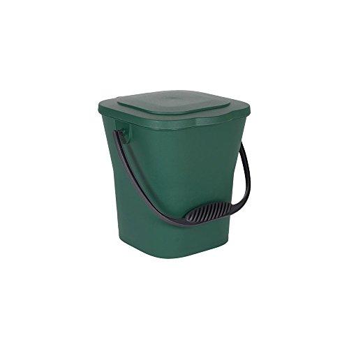 EDA 13119 V. Seau Compost 6 L avec Couvercle, polypropylène, Vert Canada Anse Gris, Dim. : 24,8 x 23,8 x 24,3 cm