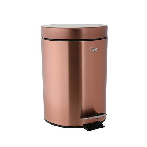 Ribelli® Kosmetikeimer mit Tritt, Tretmülleimer mit Deckel, Abfallbehälter für Küche und Bad, Mülleimer mit Kunststoffeinsatz und Tragegriff, 3L und 5L (3 Liter, Kupfer)