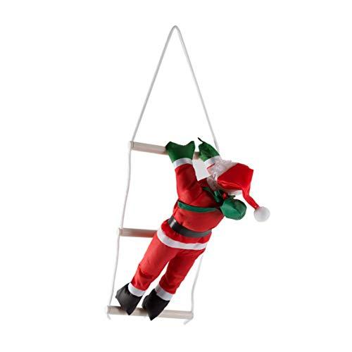 Santa claus climbing stairs decorazione dell'albero di natale ornamento di capodanno babbo natale dare impiccagioni regalo di grandi dimensioni con scala