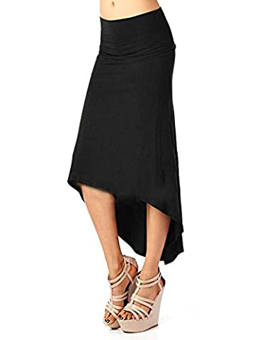 COCM10 Womens Asymmetric Knit Plain Office Bodycon Stretch Midi Retro Pencil Skirts Size S M L XL