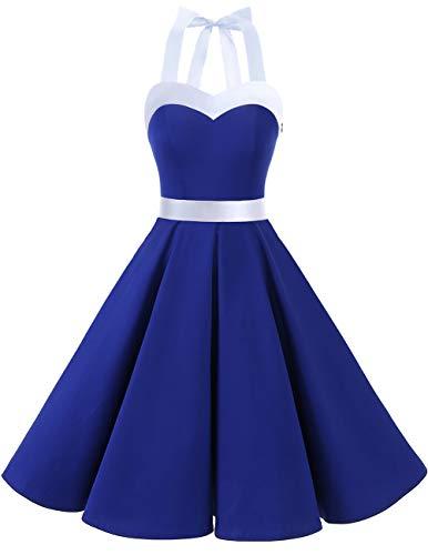 DRESSTELLS Version3.0 Vintage 1950's Audrey Hepburn pin-up Robe de soirée Cocktail, Style Halter années 50 à Pois RoyalBlue White M