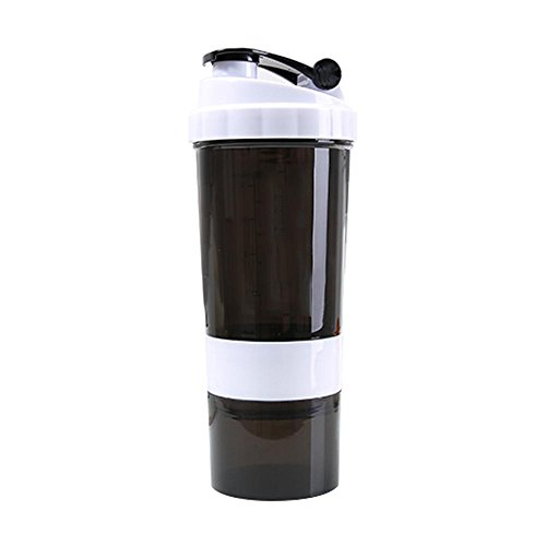 Aolvo 500 Ml Protein Shaker Flasche Wasserflasche Shaker Gym Shaker Flasche mit 3 Schicht Twist-n-Lock-Protein-und Pillen-Container, Workout Shaker Cup mit Anti-Rutsch-Design, BPA-frei (Flasche Pille)