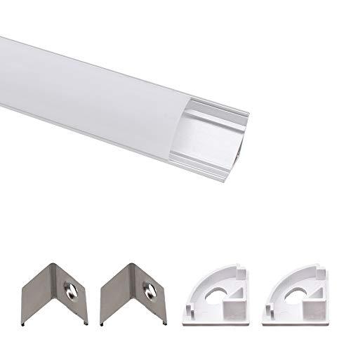 Jirvyuk LED Aluminium Profil Aluminium Extrusion Milchig Deckel Endkappen Metall Befestigungs Clips (Silber-U03)