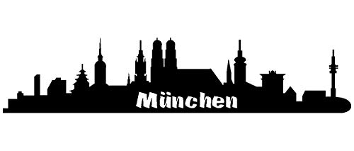 Samunshi® Autoaufkleber München Aufkleber Skyline in 7 Größen und 25 Farben (15x3,2cm schwarz)