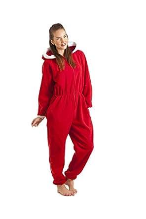 combinaison pyjama capuche en polaire p re no l femme rouge taille 38 52 camille. Black Bedroom Furniture Sets. Home Design Ideas