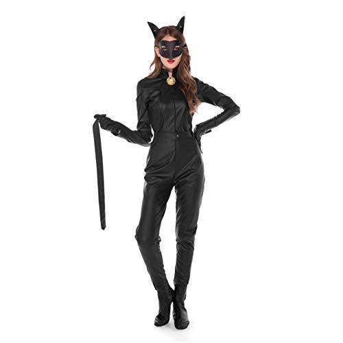 QIAO Catwoman Uniform Halloween Schwarz Skinny Skinny One Piece (Catwoman Verschiedenen Kostüm)