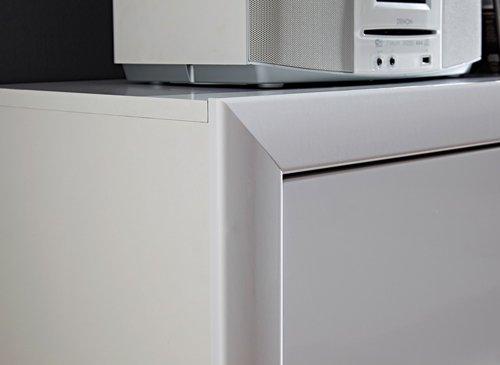 Sideboard in Hochglanz weiß, 2 Türen, 3 Schubkästen, 2 Einlegeböden, Maße: B/H/T ca. 180/90/43 cm - 3
