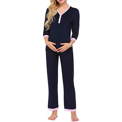 Pigiama allattamento bottoni pigiami premaman cotone gravidanza top e pantaloni donna set per parto ospedale due pezzi autunno e inverno/s