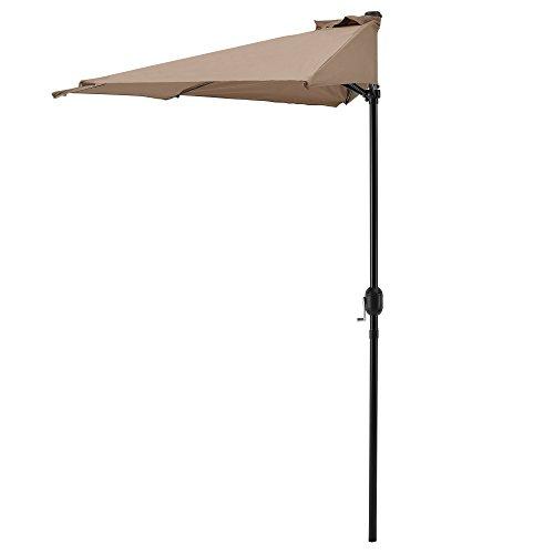 [casa.pro]®] Halb-Sonnenschirm 300x150x230cm Beige Kurbel-Schirm Marktschirm Gartenschirm Halbrund Balkon Halbschirm Balkonschirm