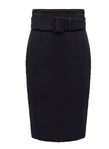 Tootlessly Women's Wild Wool Blended Plus Size Winter Warm Midi Skirt