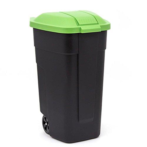 curver Mülltonne m. Räder Mülleimer Abfalleimer Müllternnung110 L schwarz/ grün (Mülltonnen Rädern Mit)