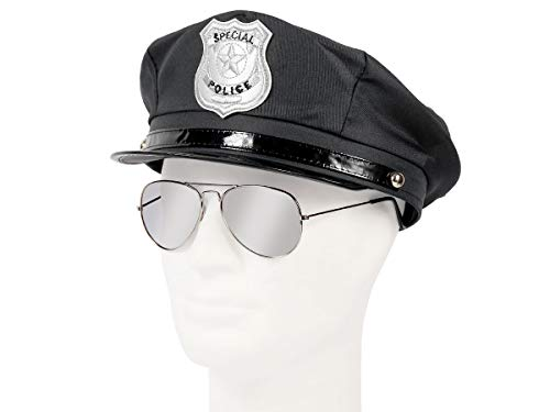 Set di Travestimento da Poliziotto | Nero | KV-121 | 2 Pezzi | Cappello, Occhiali da Sole | per Carnevale | Halloween | Festa a Tema | Adulti | Uomo | Donna