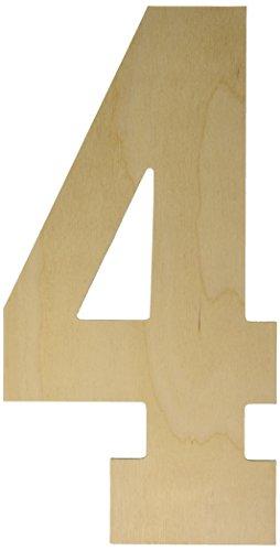 MPI Baltique de Bouleau Collegiate Polices Lettres et Chiffres, 34,3 cm, Number-4