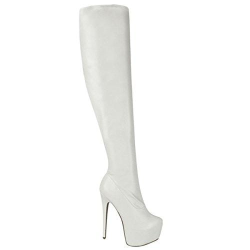 Fashion Thirsty Damen - Overknee Stiefel mit Stretch & High Heels - Weißes Kunstleder - 38 (Stiefel Weiße Plateau Overknee)
