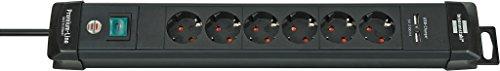 Brennenstuhl Premium-Line, Steckdosenleiste 6-fach  (3m Kabel, mit Schalter, 2-fach USB und 45° Winkel der Schutzkontakt-Steckdosen) Farbe: schwarz