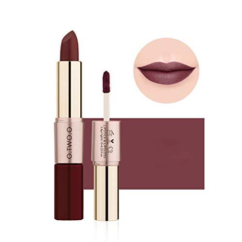 Pwtchenty Matte Lippenstift Set,Langlebige Samt Lipstick Lippenstift Lipgloss Zwei In Einem...