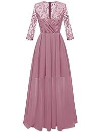 882cb44bcdff Molly Moda Vestito Lungo da Sera Donna a Portafoglio in Pizzo Cigliato e  Gonna Chiffon
