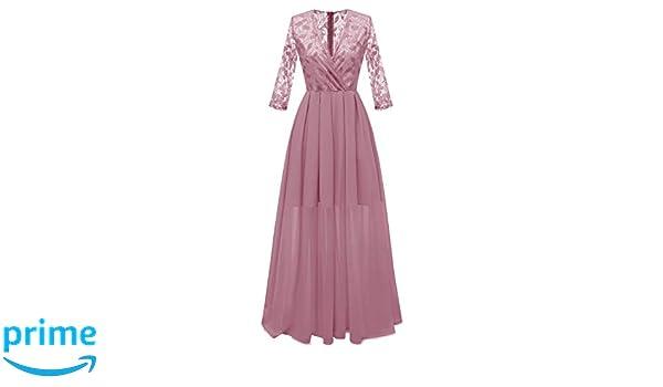 0bed718af49e Molly Moda Vestito Lungo da Sera Donna a Portafoglio in Pizzo Cigliato con  Gonna Chiffon e Maniche 3 4