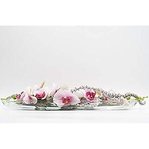 Längliches Tischgesteck mit rosa/pink,weißen Orchideen+Bananenstielen in einer Glasschale-Tischdeko mit künstl.Blumen